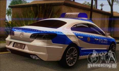 Volkswagen Passat CC Polizei 2013 v1.0 для GTA San Andreas вид слева