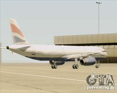 Airbus A321-200 British Airways для GTA San Andreas вид снизу
