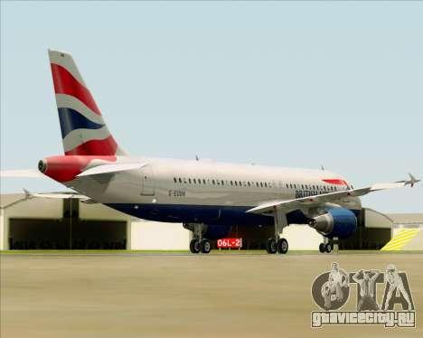 Airbus A320-232 British Airways для GTA San Andreas вид сзади слева
