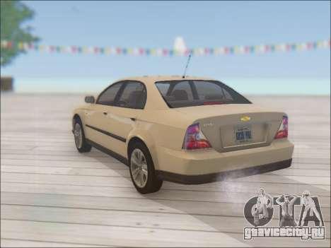 Chevrolet Evanda для GTA San Andreas вид сзади слева