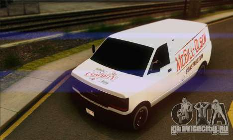 Declasse Burrito from GTA V (IVF) для GTA San Andreas вид изнутри