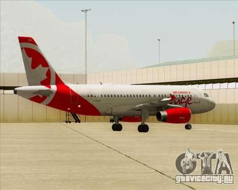 Airbus A319 Air Canada Rouge для GTA San Andreas вид сбоку