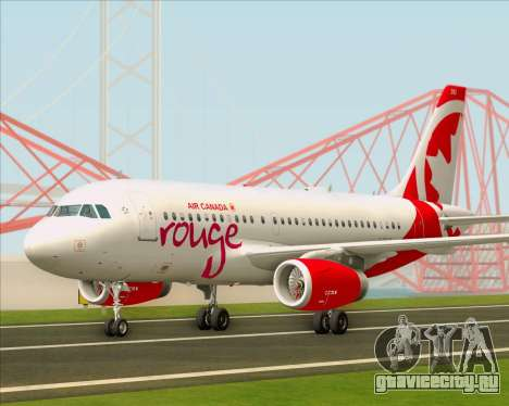 Airbus A319 Air Canada Rouge для GTA San Andreas вид слева