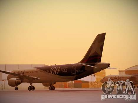 Airbus A320-214 LAN Airlines 100th Plane для GTA San Andreas вид сзади слева