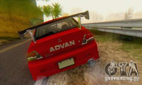 Mitsubishi Lancer Turkis Drift Advan для GTA San Andreas вид сзади