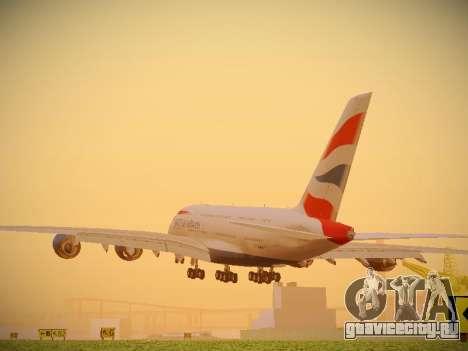 Airbus A380-800 British Airways для GTA San Andreas вид сзади слева