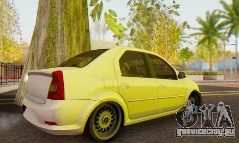 Dacia Logan White для GTA San Andreas вид сзади слева