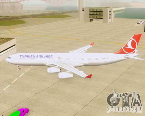 Airbus A340-313 Turkish Airlines для GTA San Andreas вид сзади