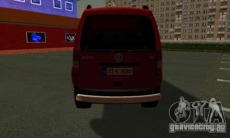 Volkswagen Caddy для GTA San Andreas вид сзади слева