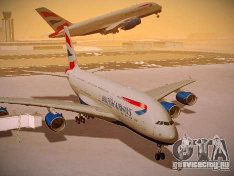 Airbus A380-800 British Airways для GTA San Andreas вид снизу