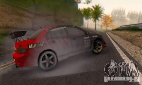 Mitsubishi Lancer Turkis Drift Advan для GTA San Andreas вид сзади слева