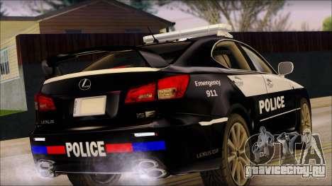 Lexus IS-F 2009 Police для GTA San Andreas вид слева