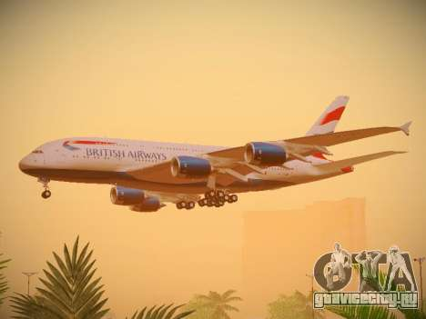 Airbus A380-800 British Airways для GTA San Andreas вид сзади