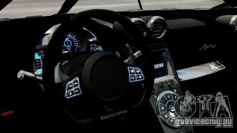 Koenigsegg Agera R 2013 PJ2 для GTA 4 вид изнутри