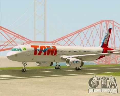 Airbus A321-200 TAM Airlines для GTA San Andreas вид сбоку