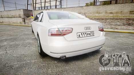 Audi A8 Limousine для GTA 4 вид сзади слева
