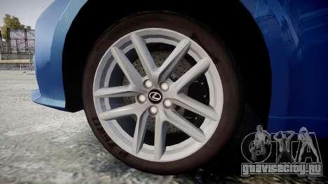 Lexus IS 350 F-Sport 2014 Rims1 для GTA 4 вид сзади