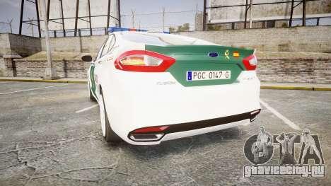 Ford Mondeo 2014 Guardia Civil Cops [ELS] для GTA 4 вид сзади слева