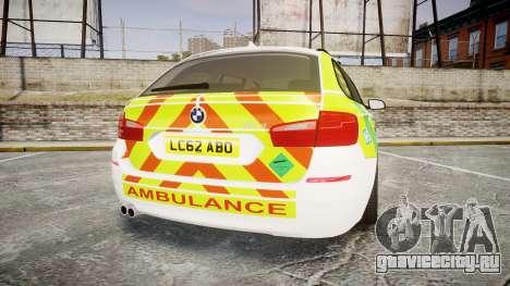 BMW 530d F11 Ambulance [ELS] для GTA 4 вид сзади слева