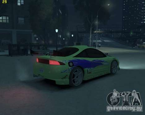 Mitsubishi Eclipse from Fast and Furious для GTA 4 вид сзади слева