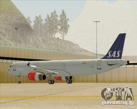 Airbus A321-200 Scandinavian Airlines System для GTA San Andreas вид сзади слева
