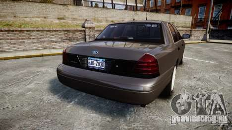 Ford Crown Victoria Unmarked Police [ELS] для GTA 4 вид сзади слева