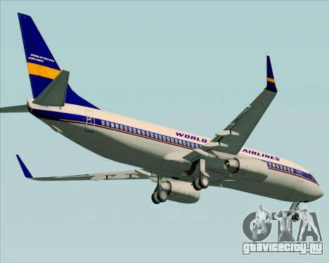 Boeing 737-800 World Travel Airlines (WTA) для GTA San Andreas вид изнутри