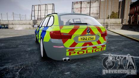 BMW 530d F11 Metropolitan Police [ELS] SEG для GTA 4 вид сзади слева