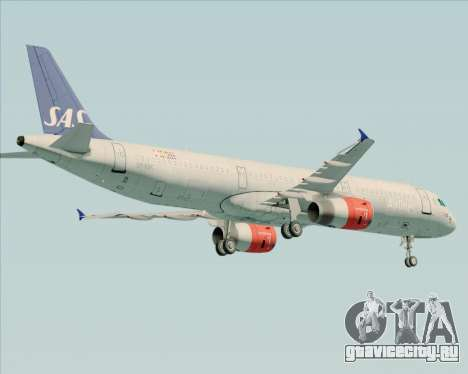 Airbus A321-200 Scandinavian Airlines System для GTA San Andreas вид сзади