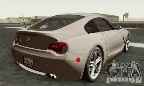 BMW Z4M Coupe 2008 Stock для GTA San Andreas вид слева