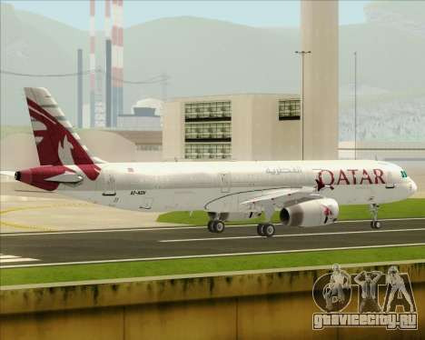 Airbus A321-200 Qatar Airways для GTA San Andreas вид сзади слева