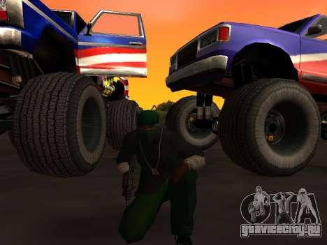 Новые текстуры колёс Monster для GTA San Andreas вид сзади слева