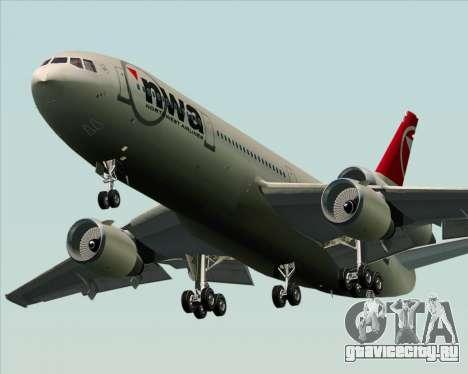McDonnell Douglas DC-10-30 Northwest Airlines для GTA San Andreas вид сзади