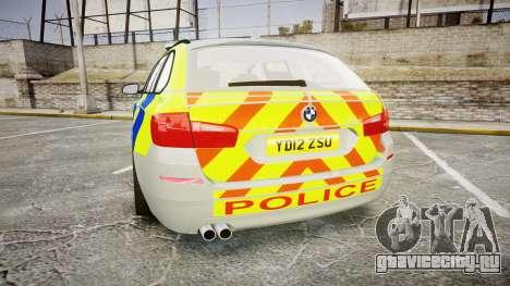 BMW 530d F11 Metropolitan Police [ELS] для GTA 4 вид сзади слева
