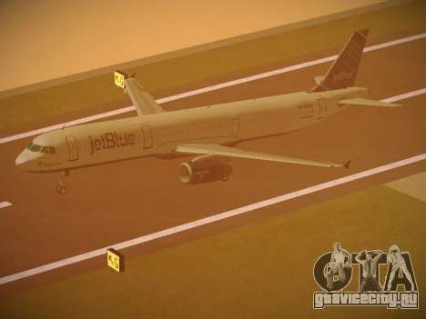 Airbus A321-232 jetBlue Red White and Blue для GTA San Andreas вид снизу