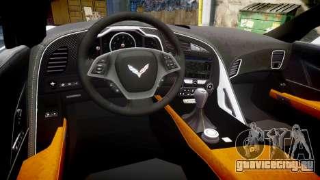 Chevrolet Corvette Z06 2015 TireYA2 для GTA 4 вид изнутри