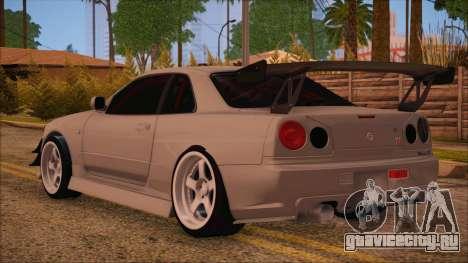 Nissan Skyline R34 GTR V-Spec 2 для GTA San Andreas вид слева