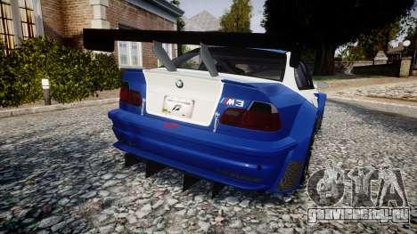 BMW M3 E46 GTR Most Wanted plate NFS для GTA 4 вид сзади слева