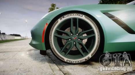 Chevrolet Corvette C7 Stingray 2014 v2.0 TireMi3 для GTA 4 вид сзади