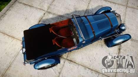 Bentley Blower 4.5 Litre Supercharged [high] для GTA 4 вид справа