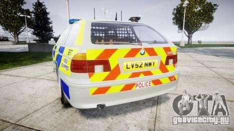 BMW 525i E39 Touring Police [ELS] BTV для GTA 4 вид сзади слева