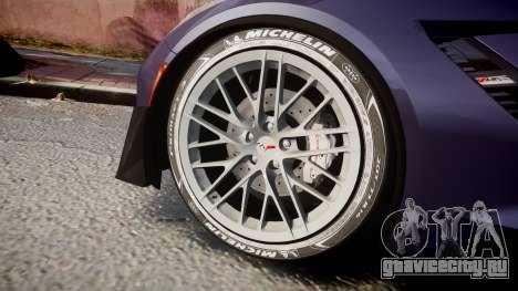 Chevrolet Corvette Z06 2015 TireMi4 для GTA 4 вид сзади