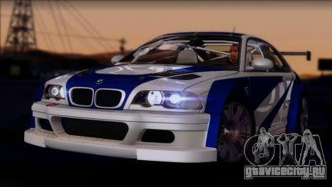 BMW M3 E46 GTR для GTA San Andreas вид сзади