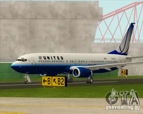 Boeing 737-800 United Airlines для GTA San Andreas вид сбоку