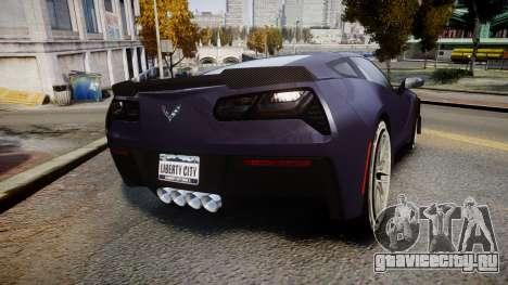 Chevrolet Corvette Z06 2015 TireMi4 для GTA 4 вид сзади слева