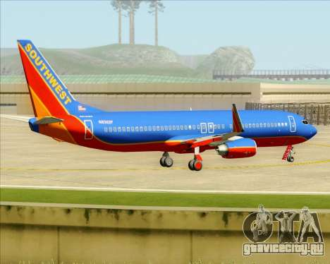 Boeing 737-800 Southwest Airlines для GTA San Andreas вид снизу