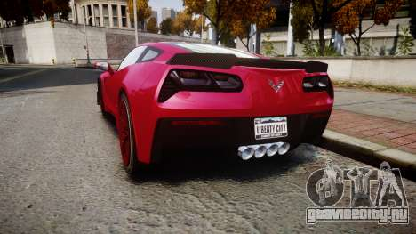 Chevrolet Corvette Z06 2015 TireMi2 для GTA 4 вид сзади слева
