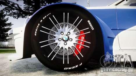 BMW M3 E46 GTR Most Wanted plate NFS для GTA 4 вид сзади