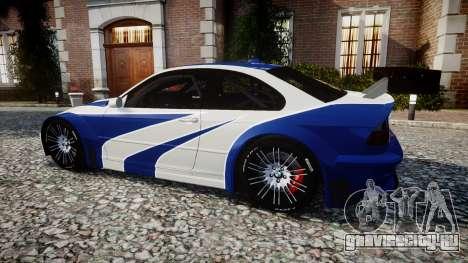 BMW M3 E46 GTR Most Wanted plate NFS для GTA 4 вид слева