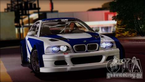 BMW M3 E46 GTR для GTA San Andreas вид сзади слева